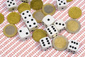 Dices And Coins On Binary Numbers Stock Photography - 4237982