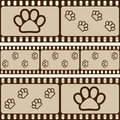 Brown Retro Background With Film Strips And Pet Paws, Seamless Pattern Stock Images - 42301934
