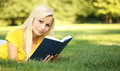 Blonde Girl With Book On Green Grass. Beautiful Wo Stock Photography - 42312802