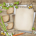 Blank Paper With Blossoming Cherry Branch Wooden Background Stock Images - 42313034