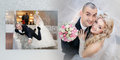 Collage - Cheerful Groom And The Bride In Their Wedding Day Stock Photography - 42318582