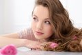 Beautiful Girl With Flowers Stock Photography - 42324242
