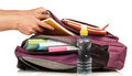 Hand With Exercise Book And Bag Stock Photography - 42324452