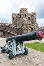 Old Canon Seen In Front Of The Medieval Castle In Rye, UK Royalty Free Stock Images - 42340289