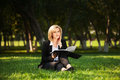 Young Business Woman With A Folder On Nature Stock Images - 42343574