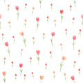 Watercolor Floral Seamless Pattern. Tulips. Vector Illustration. Beautiful Background. Royalty Free Stock Photography - 42364257