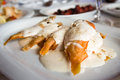Fried Surmullet Fish Under White Sauce Stock Photography - 42368922
