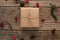 Rustic Wrapped Christmas Gift Royalty Free Stock Images - 42378039