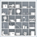 White Shelves With Different Home Related Objects Stock Image - 42383951