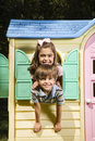 Kids In Playhouse. Royalty Free Stock Images - 4246619