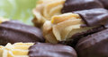 Close-up Chocolate Dipped Viennese Biscuits. Royalty Free Stock Images - 42413899