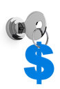 Key To Money Concept. Key And Dollar Sign Royalty Free Stock Photo - 42416545