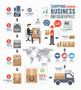Infographic Shipping World Business  Template Design . Concept Royalty Free Stock Image - 42421056