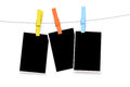 Colorful Clothespin Hang Blank Photo Paper Royalty Free Stock Photography - 42445677