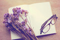 Blank Notebook And Dried Statice Flowers With Eyeglasses, Retro Royalty Free Stock Photo - 42447805