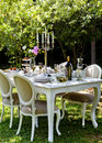 Dining Table In Backyard Stock Photo - 42467460