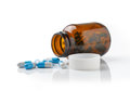 Pills Out Of Bottle On White Background Stock Image - 42472621