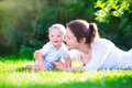 Mother And Baby In The Garden Royalty Free Stock Image - 42479826