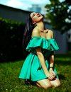 Stylish Woman Girl On Casual Green Dress Royalty Free Stock Photos - 42480358