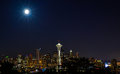 City Lights In Super Moon Royalty Free Stock Photography - 42490067