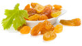 Yellow Raisins Or Sultanas In A Small White Ceramic Bowl Royalty Free Stock Photography - 42497207