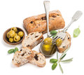 Olive Bread Fruits And Oil Royalty Free Stock Photo - 42499905
