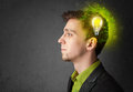 Young Mind Thinking Of Green Eco Energy With Lightbulb Royalty Free Stock Photos - 42521208