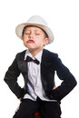Cheerful Boy In A Tuxedo And Hat Stock Image - 42537281