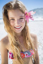 Beautiful Smiling Blonde With Flower Hair Accessory On The Beach Stock Photos - 42538203