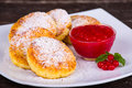 Cheese Pancakes With Berry Jam Royalty Free Stock Photography - 42540527