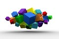 3d Colourful Cubes Floating In A Cluster Stock Image - 42553121