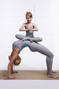 Mother Daughter Doing Yoga Exercise, Fitness, Gym Wearing The Same Comfortable Tracksuits, Family Sports, Sports Paired Stock Photos - 42554433