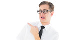 Geeky Young Hipster Pointing With Disgust Royalty Free Stock Photography - 42568247