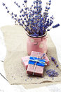 Bunch Of Lavender Flowers,soap  On Old Wooden Background.Spa Tre Royalty Free Stock Images - 42574969