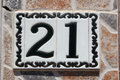 Spanish Street Number 21 Royalty Free Stock Images - 42575559