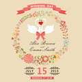 Cute Wedding Invitation With Swans And Floral Wreath Royalty Free Stock Images - 42577149