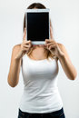Woman Cover Her Face With Digital Tablet. Isolated On White. Royalty Free Stock Photos - 42582008