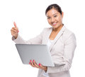 Business Woman With Laptop Computer And Thumb Up Royalty Free Stock Photos - 42587878