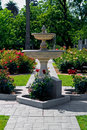 Fountain In The Middle Of Rose Garden Stock Images - 4268614