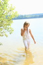 Little Girl In Water Stock Photography - 42628782