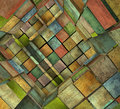Fragmented Tiled Mosaic Labyrinth In Multiple Color Royalty Free Stock Photography - 42640317