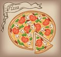 Pizza Vector Hand Drawn Stock Image - 42653351