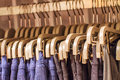Eans Hanging On A Hanger In The Store Royalty Free Stock Photo - 42663725
