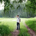 Teenager In The Forest Royalty Free Stock Photography - 42676477