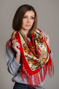 Portrait Of A Beautiful Young Woman With A Scarf. Stock Photos - 42678023