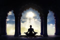 Meditating In Old Temple Royalty Free Stock Image - 42680176