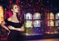 Fantasy. Beautiful Lady Over Shop Window With Jewels Stock Image - 42683071