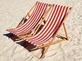 Deck Chairs On The Beach Stock Photo - 42696030