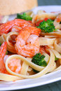 Fettuccine Pasta With Shrimp And Vegetables Stock Image - 4277591