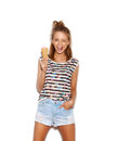 Pretty Girl Having Fun And Eating Ice Cream Stock Images - 42701354